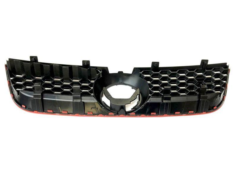 Kühlergitter Kühlergrill Grill Rot Rahmen Optik Waben Struktur VW Polo 9N3 – Bild 3