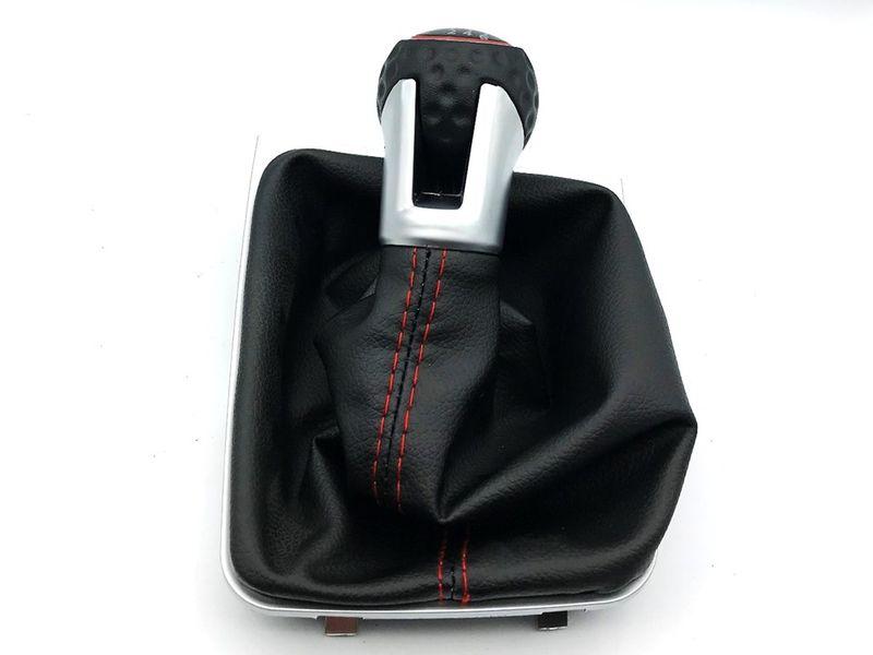 Schaltknauf Schalthebel Schaltsack Silber Golfball Optik rote Naht 6 Gang Golf 7 – Bild 2