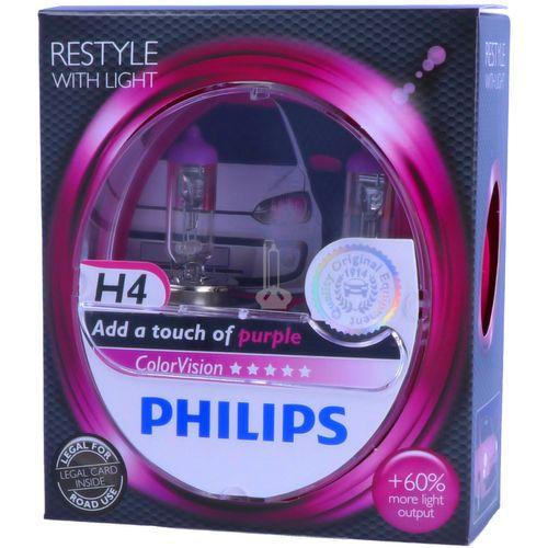 H4 PHILIPS ColorVision РОЗОВЫЙ - Стайлинг со светом