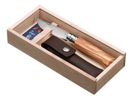 Geschenkset: Opinel Messer Olivenholz, Etui, Geschenkbox