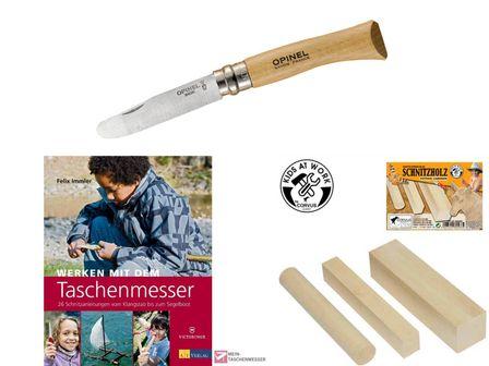 Ferienpaket Kinderschnitzmesser, Buch und Holz