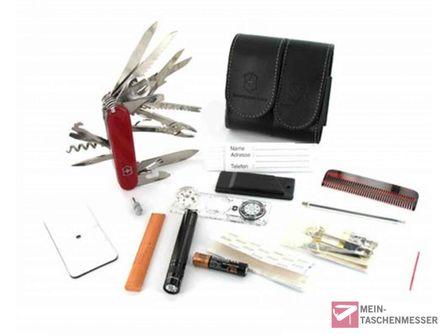 Victorinox Survival-Kit mit Leder-Etui