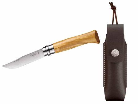 Opinel-Messer, Größe 8, Olivenholz, rostfrei mit Etui