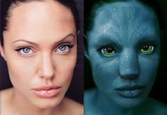 Katzenaugen Kontaktlinsen - Angelina Jolie als Avatar