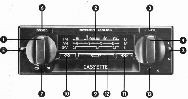 Becker Monza Cassette for Merc. Benz 107, 1978-1981