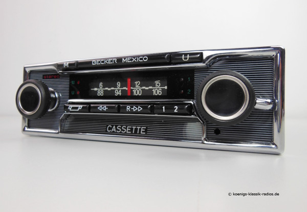 Becker Mexico Cassette Vollstereo Autoreverse in pinstripe design for W116 till 1978