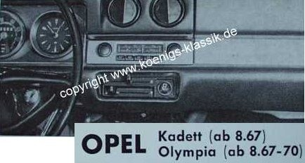 Blaupunkt Frankfurt for Opel Kadett from 8/67 on