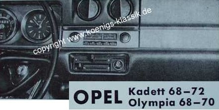 Blaupunkt Frankfurt for Opel Kadett and Olympia from 1968 on