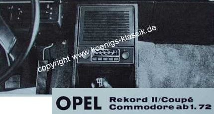 Blaupunkt Frankfurt for Opel Rekord II + Commodore from 1/72 on