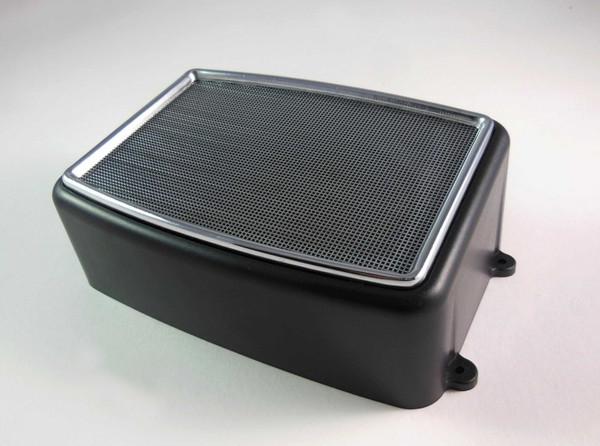 Lautsprecherbox eckig mit Chromabdeckung u. Lautsprecher #Box3