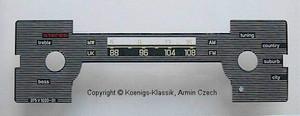 Skalenscheibe Becker Mexico Cassette Vollstereo Export #375V1020