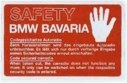 Becker Fenster-Aufkleber BMW BAVARIA SAFETY