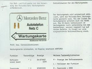 Mercedes-Benz Wartungskarte mit Bedienhinweis Autotelefon Netz C