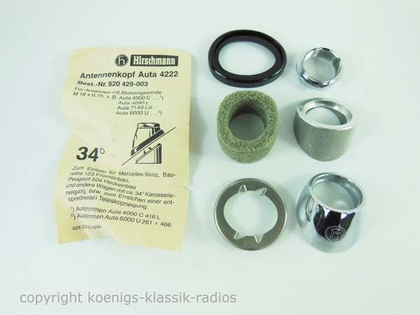 Original Hirschmann Antenna Head Auta 4222 Chrome