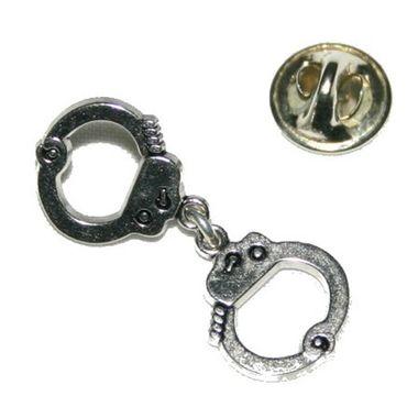 Handfessel Anstecker Pin silber