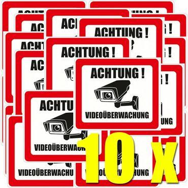 ACHTUNG! Videoüberwachung Aufkleber (10er-Pack)