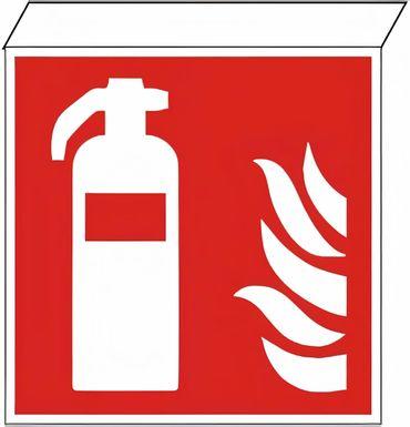 """Fahnenschild  """"Feuerlöscher nach ISO 7010 / F 001 z.B zur DECKENMONTAGE , Kunststoff Langnachleuchtend  / KN KNS ECO SERIE, Größe :200 x 200 x 25 (Montagefläche) mm"""