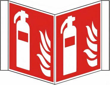 Nasenschild Kunststoff bedruckt mit 2 Symbolen Feuerlöscher nach ISO 7010 / F 001 - versch. Varianten