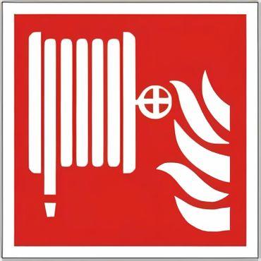Brandschutzschild als Symbol Löschschlauch nach ISO 7010 F 002 versch. Varianten
