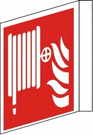 Fahnenschild zweiseitig bedruckt mit 2 Symbolen Löschschlauch nach ISO 7010 / F 002 versch. Varianten - Wandmontage