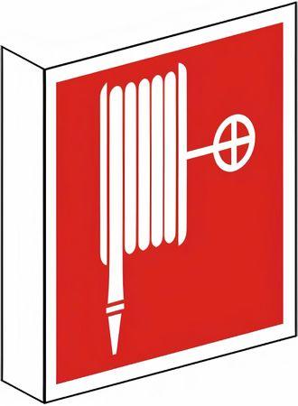 Fahnenschild Kunststoff zweiseitig bedruckt mit 2 Symbolen Löschschlauch nach BGV A8 / F 03 versch. Varianten - Wandmontage