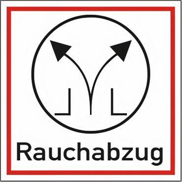 Brandschutzschild als Symbol Rauchabzug - Kunststoff - DIN 67510 - 200 x 200 mm