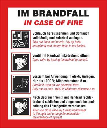 Schild Handhabungsfolie Wandhydrant - 2 sprachig/deu / engl. - neue DIN14461 (gültig ab 01.10.2016) - Folie selbstklebend - 240 x 200 mm