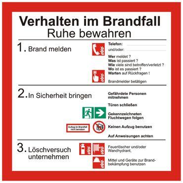 """Sicherheitsaushang Schild """" Verhalten im Brandfall """" mit Symbolen nach ISO 7010 - 200 x 200 mm - versch. Materialien"""