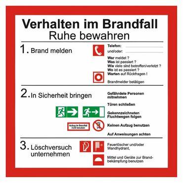 """Brandschutzschild Sicherheitsaushang """" Verhalten im Brandfall """" BGV A8 - 200 x 200 mm - versch. Materialien"""