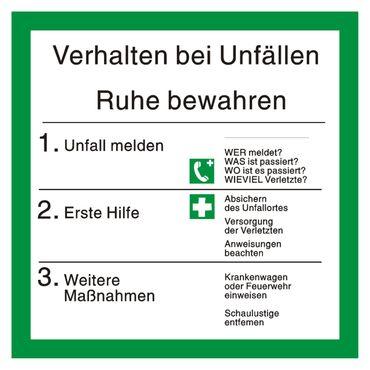 "Sicherheitsaushang Rettungsschild "" Verhalten bei Unfällen "" mit Symbolen nach BGV A8 - 200 x 200 mm - versch. Materialien"