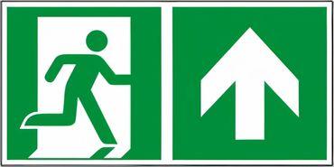 """Rettungswegschild Kombiversion - Laufrichtung geradeaus / durch Tür (wenn Schild an Tür angebracht ist), aufwärts gehen , bestehend aus Notausgangszeichen nach ISO 7010 / E 002 + E 006 Zusatzpfeil Typ D ISO 3864-3 """" versch. Ausführungen"""