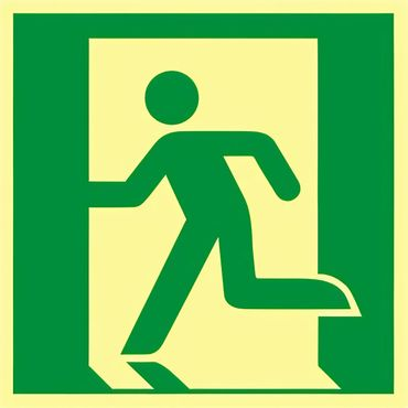 """Rettungswegschild - Symbol Rettungsweg links , nach  ISO 7010 / E 001  """" , Langnachleuchtend - versch. Ausführungen"""