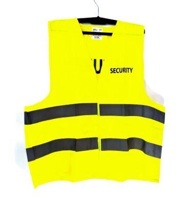 Warnweste gelb EN ISO 20471 mit Aufschrift SECURITY auf Brust und Rücken - Einheitsgröße