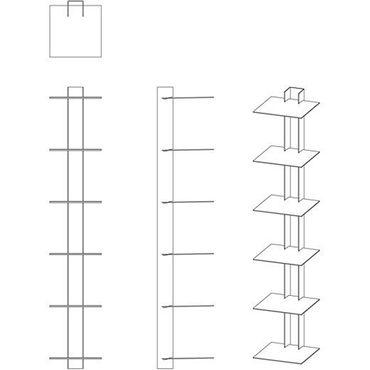 Haseform Bücherturm 90 cm (für 1 m Bücher) anthrazit Bücherregal Wandregal – Bild 3