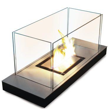 Uni Flame schwarz 3 l glanzpolierter Edelstahl Ethanol-Kamin - 544 e – Bild 1