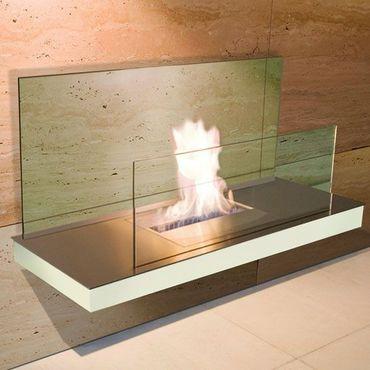 Wall Flame 2 weiss gebürsteter Edelstahl Glas klar Ethanolkamin - 540 d