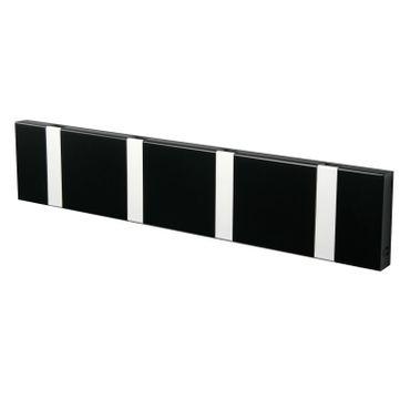 Knax 4 Garderobe schwarz, Garderobenleiste mit 4 Haken