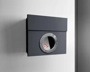 Letterman 1 Radius Design Briefkasten mit Bullauge anthrazit-grau (RAL 7016), verdecktes Schloss, moderner Wand-Postkasten – Bild 2