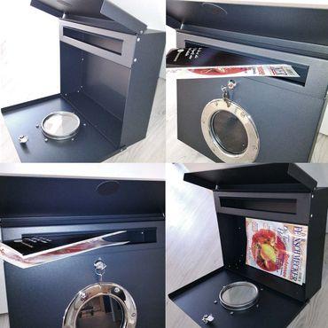Radius Briefkasten Letterman 1 schwarz mit LED-Klingel rot 506 F-KR – Bild 3