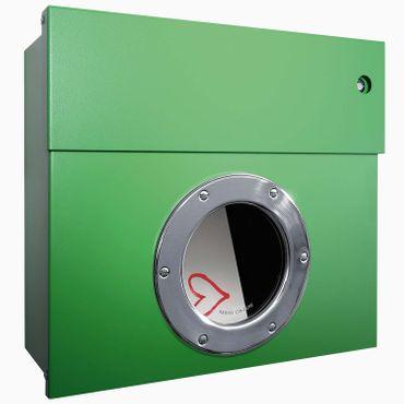 Radius Briefkasten Letterman 1 grün mit LED-Klingel blau 506 B-KB