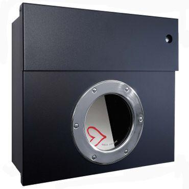 Radius Briefkasten Letterman 1 schwarz mit LED-Klingel blau 506 F-KB