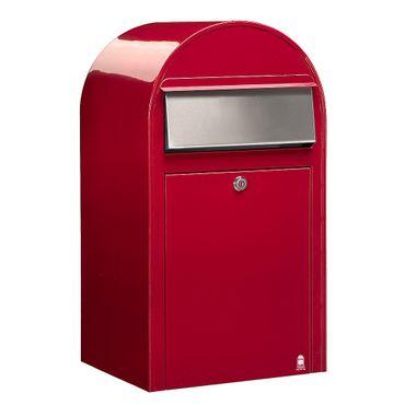 Bobi Grande Briefkasten RAL 3001 rot, Klappe aus Edelstahl Wandbriefkasten – Bild 1