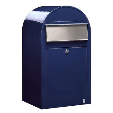 Bobi Grande Briefkasten RAL 5003 blau, Klappe aus Edelstahl Wandbriefkasten – Bild 1