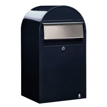 Bobi Grande Briefkasten RAL 5004 schwarzblau, Klappe aus Edelstahl Wandbriefkasten – Bild 1