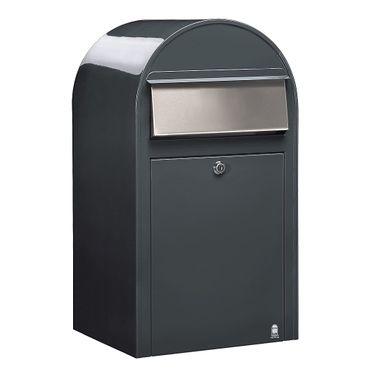 Bobi Grande Briefkasten RAL 7016 grau, Klappe aus Edelstahl Wandbriefkasten – Bild 1