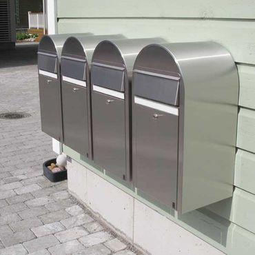 Bobi Grande Briefkasten RAL 9005 strukturschwarz, Klappe aus Edelstahl Wandbriefkasten – Bild 4