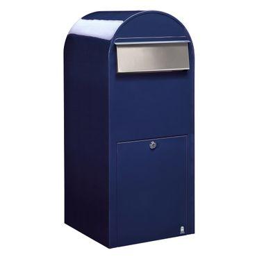 Bobi Jumbo Briefkasten RAL 5003 blau, Klappe aus Edelstahl Wandbriefkasten – Bild 1
