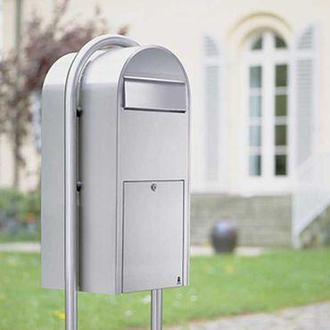 Bobi Jumbo Briefkasten RAL 5003 blau, Klappe aus Edelstahl Wandbriefkasten – Bild 3