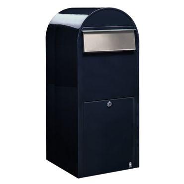 Bobi Jumbo Briefkasten RAL 5004 schwarzblau, Klappe aus Edelstahl Wandbriefkasten – Bild 1