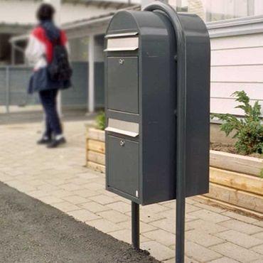 Bobi Duo Briefkasten RAL 7016 grau, Klappe aus Edelstahl Wandbriefkasten – Bild 3
